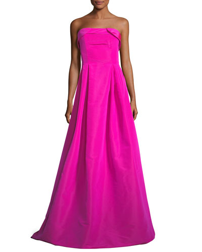 Rielle Silk Sleeveless Bustier Long Evening Gown