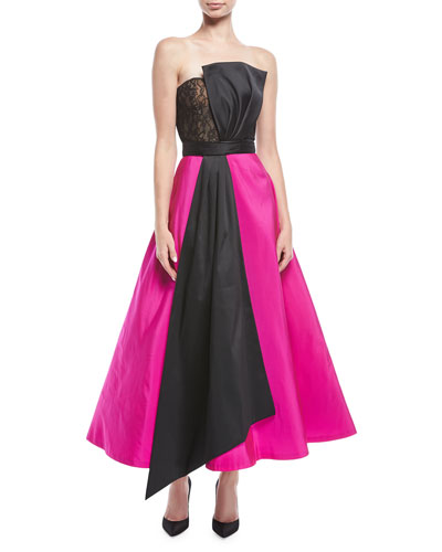 Vesta Strapless Two-Tone Midi Gown