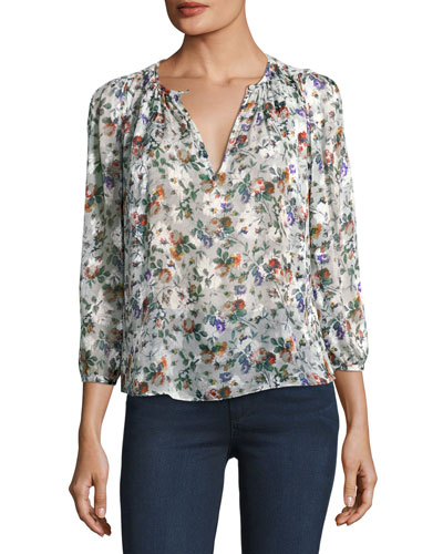 Long-Sleeve Floral-Print Silk Top