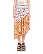 Floral-Print Pleated Midi Skirt with Asymmetric Hem