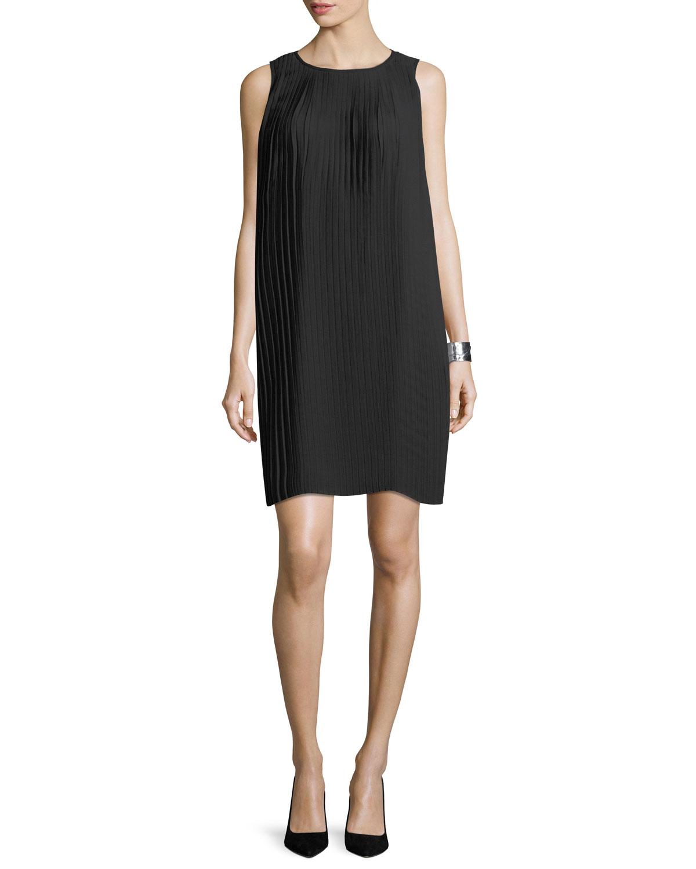Knife-Pleated Knee-Length Dress