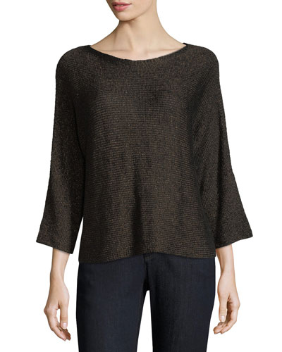 3/4-Sleeve Shimmer-Chainette Top, Plus Size