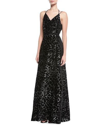 Metallic Burnout Wrap Evening Gown