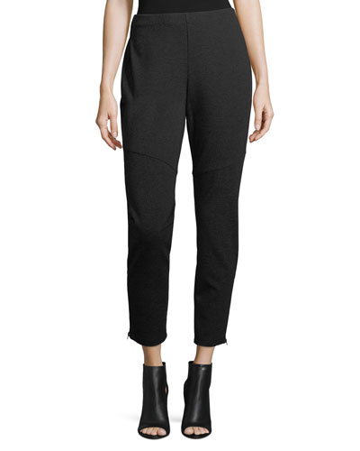 Melange Knit Skinny Ankle-Zip Pants