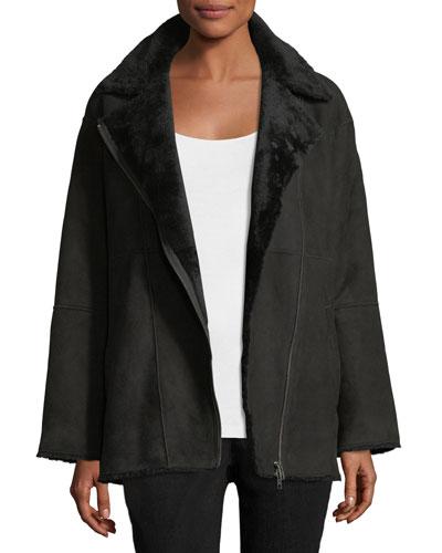 Sleek Shearling Leather Bomber Jacket