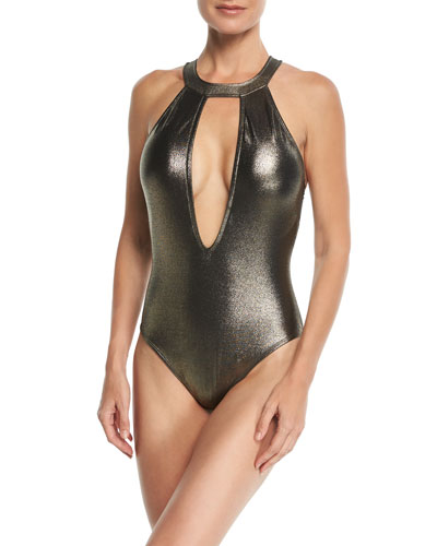 Elements Metallic Plunging One-Piece Swimsuit