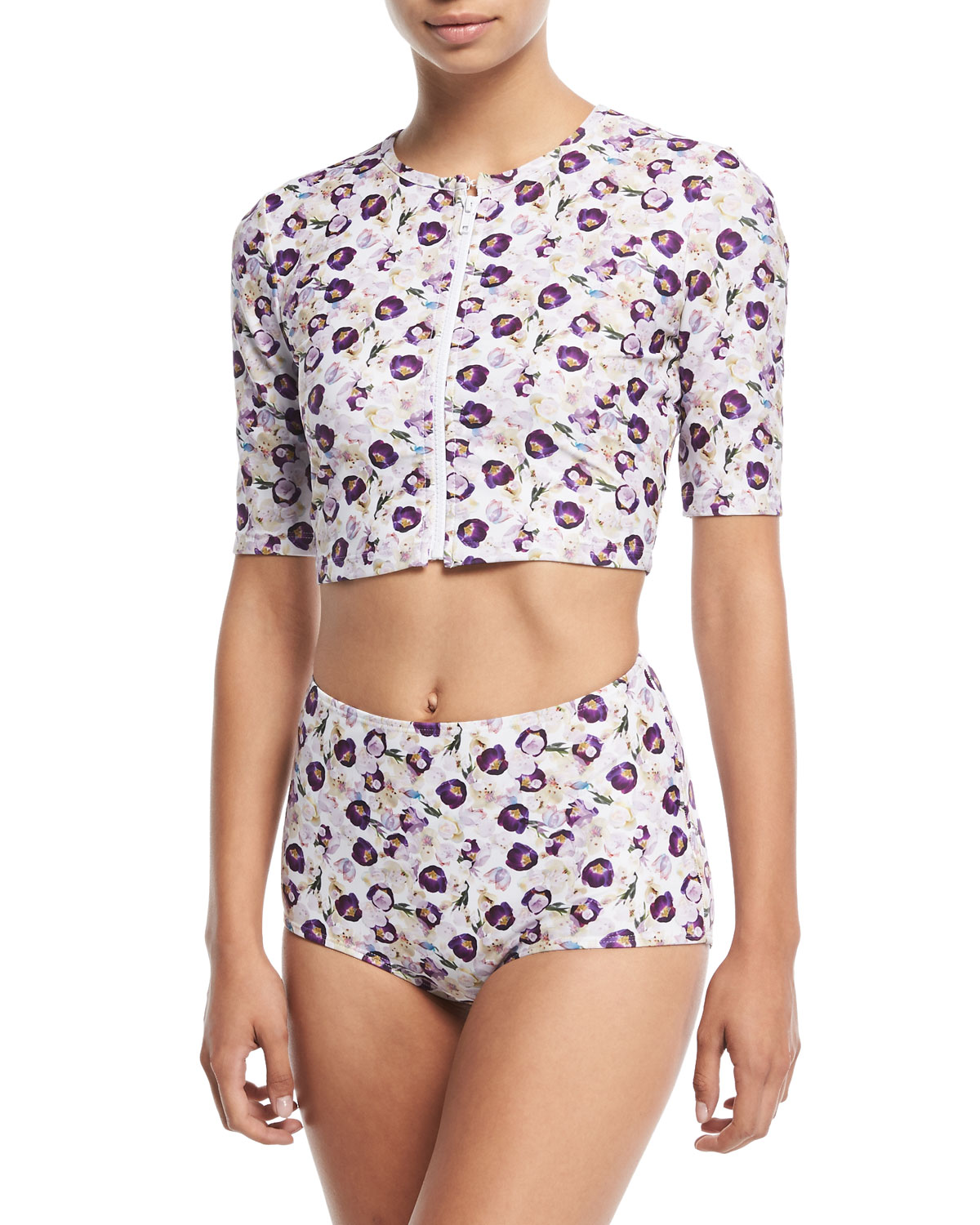 Cropped Zip-Front Floral-Printed Swim Top