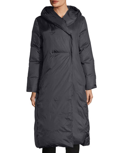 Eggshell Hooded Recycled Nylon Parka Coat, Petite