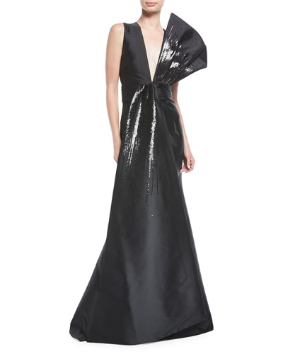 Blanche Sequin Flounced V-Neck Gown