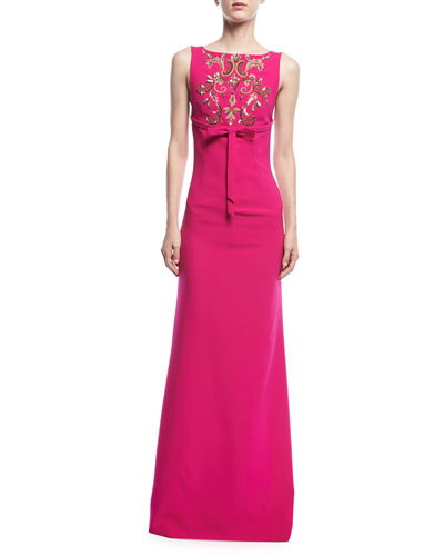 Somerset Embroidered Square-Back Gown