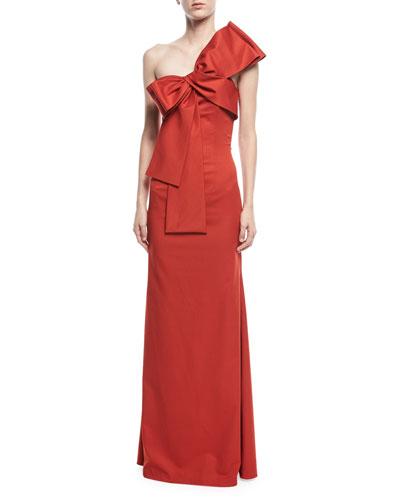 Emmeline One-Shoulder Satin Gown