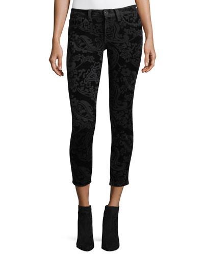 Paisley-Print Velvet Ankle Skinny Pants