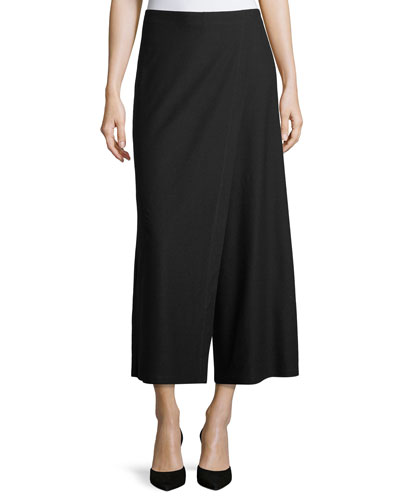 Wrap-Front Wide-Leg Crepe Pants, Plus Size