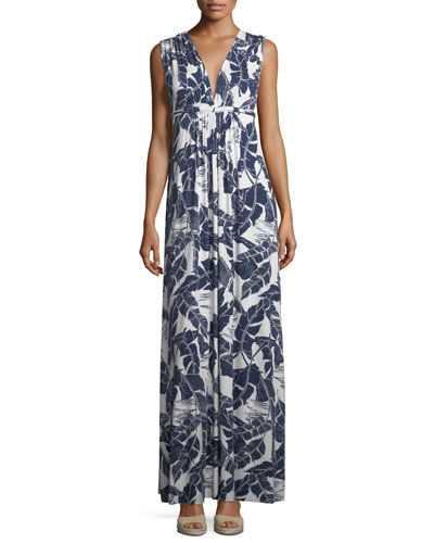Long Sleeveless Palm-Leaf-Print Dress, Plus Size