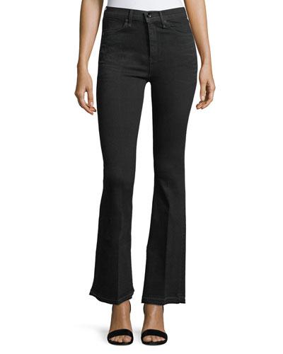 Bella Slim Flared Jeans with Slit Hem, Worn Black