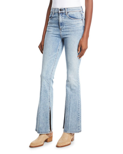 Bella Slim Flared Jeans with Slit Hem