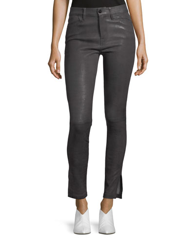 Le High Skinny-Leg Leather Pants with Slit Hem