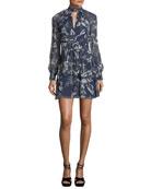 Evette Mock-Neck Floral-Print Silk Dress