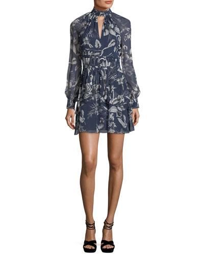 Evette Mock-Neck Floral-Print Silk Dress