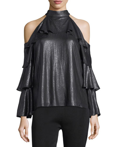 Kris Cold-Shoulder Mock-Neck Metallic Blouse