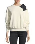 Crewneck Long-Sleeve Cotton Sweatshirt w/ Bow Detail