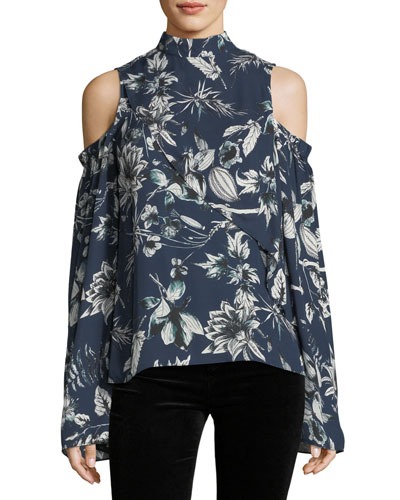 Lulu Mock-Neck Cold-Shoulder Floral-Print Silk Blouse