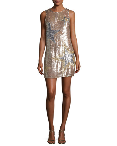 Allegra Sleeveless A-line Sequined Cocktail Dress