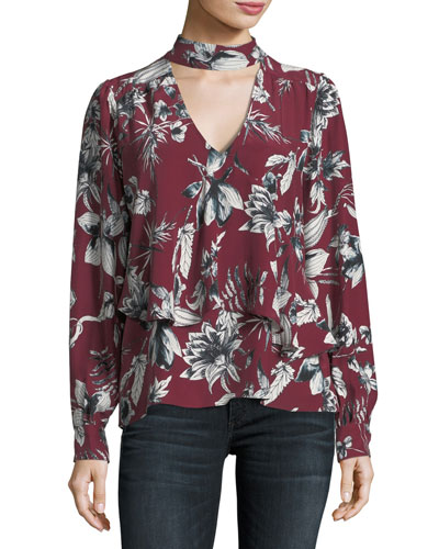Hamlet Mock-Neck Bouquet Floral-Print Silk Blouse