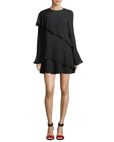 Evony Crewneck Long-Sleeve Ruffled A-Line Dress