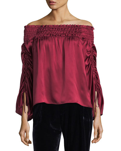 Valentino Off-the-Shoulder Silk Satin Blouse