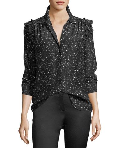 Diamond-Print Button-Front Ruffle Long-Sleeve Silk Blouse