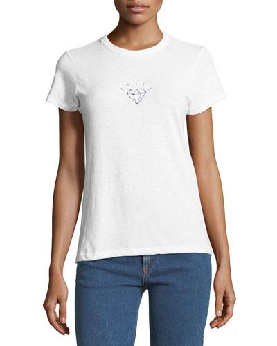 Diamond-Graphic Crewneck Short-Sleeve Tee