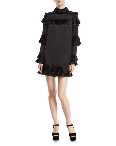 Mock-Neck Long-Sleeve Satin Dress w/ Ruffled Frills