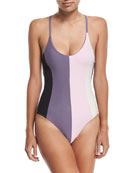Farrah Colorblock One-Piece Swimsuit, Amethyst