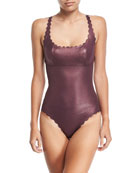 Gwen Reversible Seamless Wave One-Piece Swimsuit, Plume