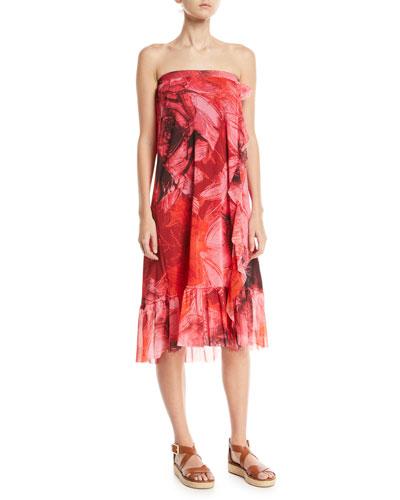Ruffle Tulle Long Coverup Skirt