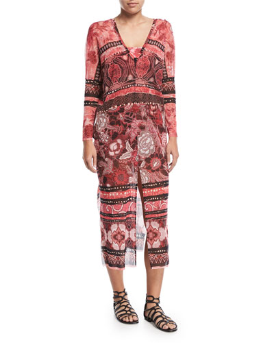 Mixed-Print Long-Sleeve Tulle Caftan Coverup