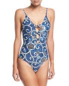 Crisscross Floral-Print One-Piece Swimsuit