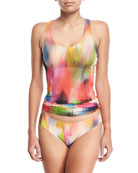 Tulle Watercolor Tankini Swimsuit Set