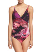 Wrap-Front Floral One-Piece Swimsuit