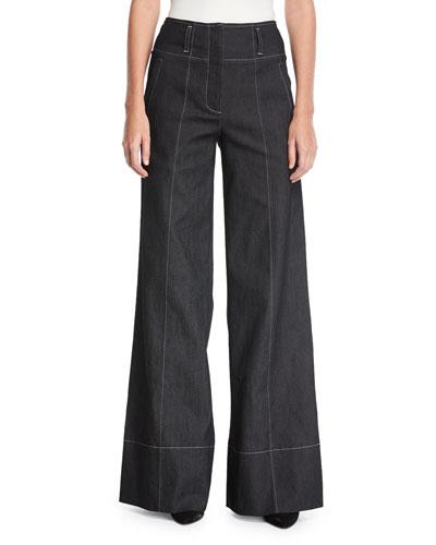 Talia Wide-Leg Cotton Pants w/ Topstitching