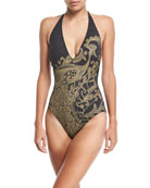 Golden-Treasure Halter One-Piece Swimsuit