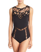 Sea Romance Embroidered Lace High-Neck One-Piece Swimsuit