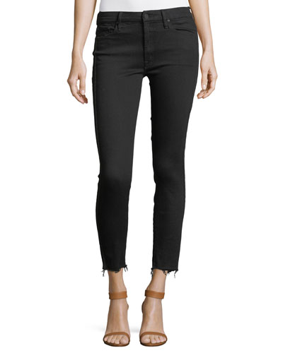 Looker High-Waist Ankle Fray Skinny-Leg Jeans w/ Racing Stripes
