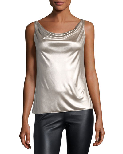 Screen Test Sleeveless Cowl-Neck Metallic Top