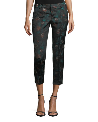Posh Jungle Straight-Leg Ankle Pants
