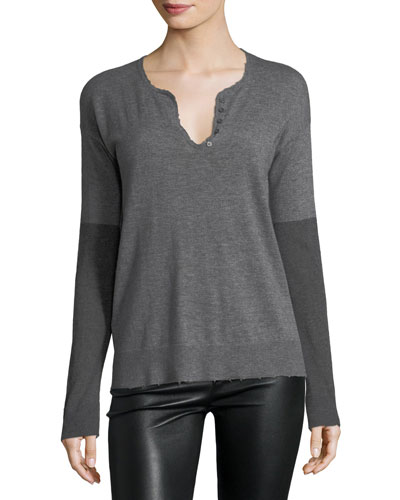 Celsa Long-Sleeve Cashmere Henley Top