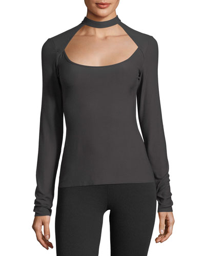 Wide-Shot Long-Sleeve Stretch-Jersey Top