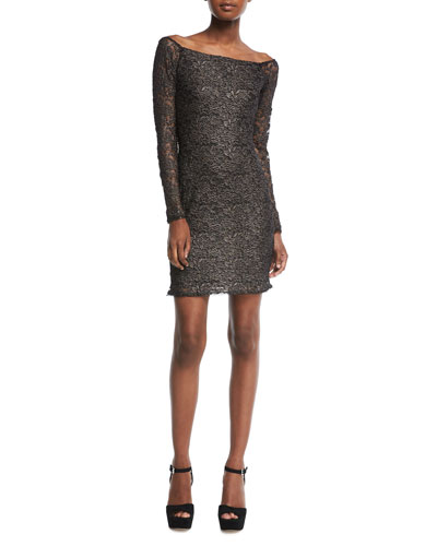 Double-Exposure Off-the-Shoulder Jacquard Lace Cocktail Dress