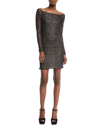 Double-Exposure Off-the-Shoulder Jacquard Lace Cocktail Dress